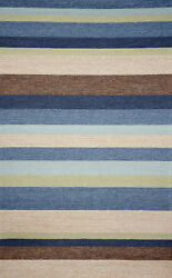 Ebern Designs Derby Stripe Denim IndoorOutdoor Rug