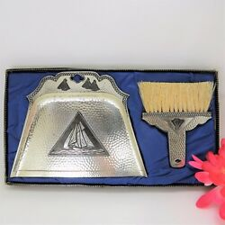 Antique Silent Butler Crumb Tray Brush Set Silver Plated Hammered Metal -Japan