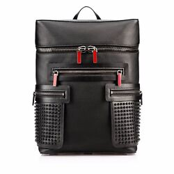 100% Authentic New Christian Louboutin Apoloubi Black Spiked Leather Backpack