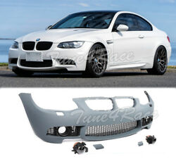 For 11-13 BMW E92 3-Series NO PDC M3 Style Front Bumper Cover + Clear Fog Lights