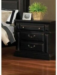 Night Stand Table Wood Bedside End Table Drawers Black Bedroom Storage Furniture