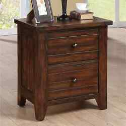 Night Stand Table Bedside End Table Wood 2 Drawer Bedroom Storage Furniture