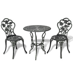 3pcs Outdoor Patio Bistro Set Garden Table and 2 Chairs Cast Aluminum Green