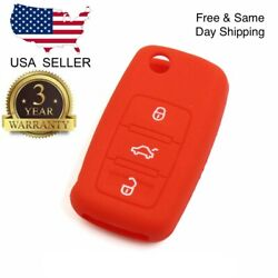 Red Silicone Cover For VW 3-Button Remote Folding Flip Key $3.99