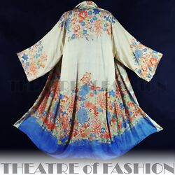 VINTAGE 1920s KIMONO SILK JACKET COAT ANTIQUE GATSBY 30s DECO VAMP WEDDING OSFA