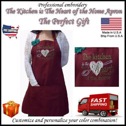 quot; The Kitchen is The Heart of The Home quot; Personalized Embroidery Apron Kitchen $34.45