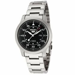 Seiko 5 SNK809 Automatic MILITARY Black Dial Stainless Steel Mens Watch SNK809K1 $89.99