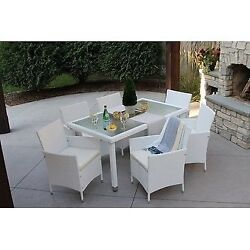 7pc Outdoor White Wicker Patio Dining Set (rec'd rectangle)