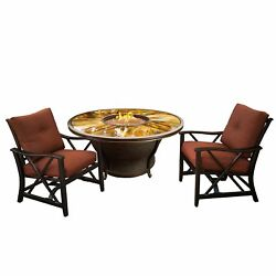 Oakland Living Corporation Odyssey Round 48 x 24-inch Tempered Glass Gas Firepit