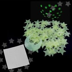 Yellow 100 3D Wall Ceiling Glow In The Dark Moon Stars Decor Plastic Stickers $5.12
