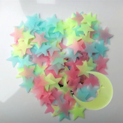 Multicolor 100 PCS 3D Wall Ceiling Glow In The Dark Moon Stars Kid Room Stickers $5.12