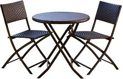 Bistro 3-piece Folding Dining Set Table Chairs Outdoor Seating Patio Yard Garden