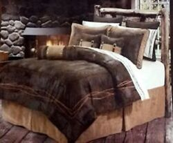 7 Pc. Queen Comforter Set BARBED WIRE Country Western Rustic Bedding Decor $274.97