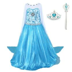 NEW Elsa Costume Princess Party Girls Dress with Crown and Wand 2 10 Y $18.58