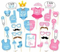 30PCS Baby Shower Gender Reveal Party Supplies Boy or Girl Photo Booth Props $5.90