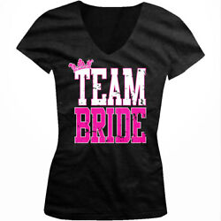 Distressed Team Bride Bachelorette Wedding Party Juniors V neck T shirt $13.48