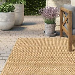 Outdoor Area Rug Carpet 67 X 91 Woven Natural Sand Quick Dry Patio Deck