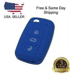 Blue Silicone Cover For VW 3-Button Remote Folding Flip Key $2.99