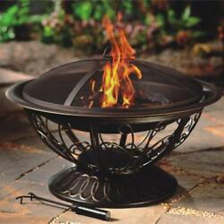 Portable Outdoor Wood Burning Fire Pit with Fire Poker and Mesh Screen Bronze