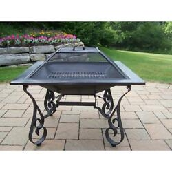 Outdoor Stainless Steel Wood Burning Fire Pit Spark Screen Black Finish