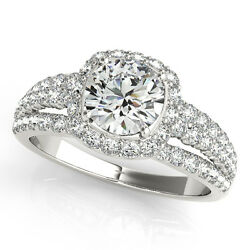 1.88 CT ROUND MOISSANITE FOREVER ONE & DIAMOND HALO ENGAGEMENT RING
