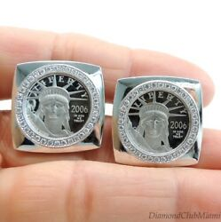 Platinum Liberty Cufflinks $10 110th Troy Ounce Coin with Diamonds 30.0 Grams