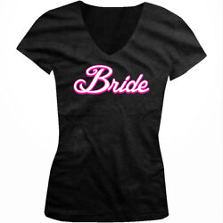 White Script Bride Married Wedding Bachelorette Party Juniors V neck T shirt $29.95
