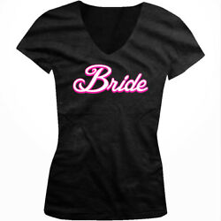 White Script Bride Married Wedding Bachelorette Party Juniors V neck T shirt $13.48