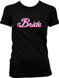White Script Bride Married Wedding Bachelorette Party Juniors T shirt $22.95