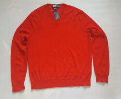 POLO RALPH LAUREN RED MEN'S 100% ITALIAN YARN CASHMERE V-NECK SWEATER SIZE XL