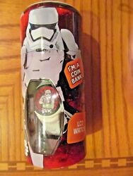 STAR WARS Child's LCD Watch: STORM TROOPER in metal coin BANK~NEW in BANK