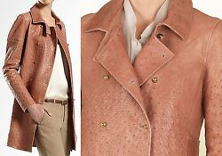 $10000 GUCCI 6 42 Runway Ostrich Trench Coat Jacket Leather Women Lady ITALY