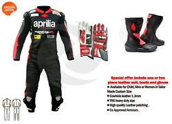 Motorbike aprilia leather suit motorcycle boots racing gloves gp moto apparel GBP 578.00