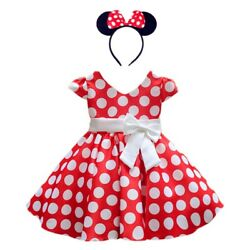 DH Girls Toddlers Cap Sleeves Skirt Vintage Polka Dot Dress With Headband 2 10Y $17.98