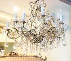 Xlrg Incredible Antique Maccaroni Beaded Chandelier Showstopper