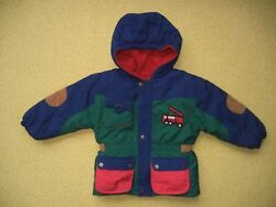 Vtg CASUAL TIME KIDS BlueGreen Fire Truck WINTER JACKET Warm Coat TODDLER 3T