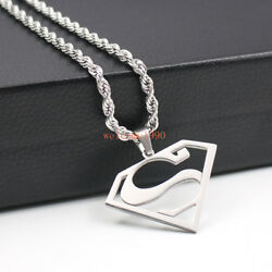 Unisexs High Quality stainless steel superman Necklace pendant Rope Chain 22''