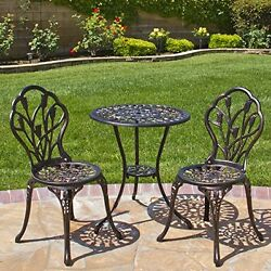 Patio Table Chairs Bistro Iron Set Outdoor Furniture Garden Yard Deck Tulips
