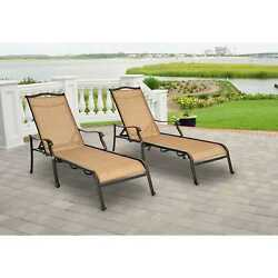 Hanover Monaco Tan Outdoor Chaise Lounge Chairs (Set of 2)