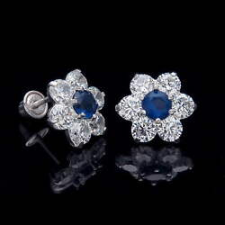 2.00ct Created Diamond Sapphire Cluster 14K White Gold Earrings Screwback Studs