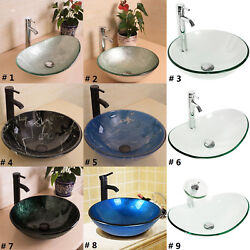 Bathroom Tempered Glass Vessel Sink Bowl Faucet Drain Combo Round Oval Artistic $88.99