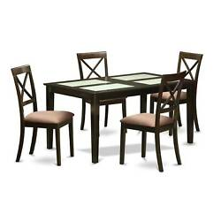 Black Finish Rubberwood 5-piece Dining Room Set with Glass Dining Table and 4