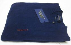 Last $398 polo Ralph Lauren soft 100% Italian yarn cashmere cable sweater navy M
