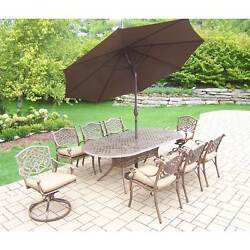 Dakota Outdoor Dining Set with Table 6 Cushioned Chairs 2 Cushioned Swivel
