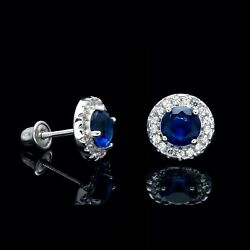 1CT Halo Blue Sapphire Created Diamond Earrings 14k White Gold Screwback Studs