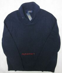 NWT Polo Ralph Lauren cashmere wool shawl sweater Aviator Navy  Italian Yarn XXL