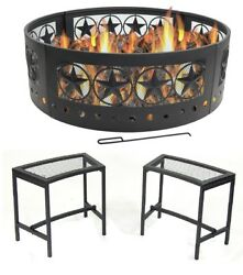 Heavy Duty Texas Star Campfire Ring Combo With 2 Black Mesh Benches