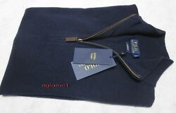 $398 POLO RALPH LAUREN 100% cashmere Italian Yarn  half zip SWEATER L Navy
