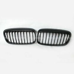 REV 2Pcs For BMW 2 Series GT F45 F46 1 Slat Front Bumper Grille Matte Black ABS