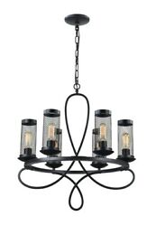 Classic Fireplace Mesh 6-Light Candle-Style Chandelier Rustic Black Finish